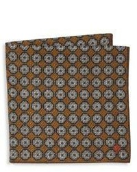 Isaia Ochre Dotted Wool Blend Pocket Square