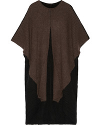 Victor Alfaro Oversized Two Tone Knitted Poncho