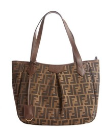 Fendi Brown And Black Canvas Leather Trim Zucca Pattern Shopping Tote