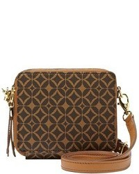 Dark Brown Print Crossbody Bag