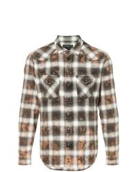 Roarguns Acid Wash Plaid Shirt