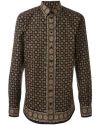 Dark Brown Print Dress Shirt