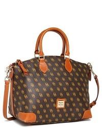 Dark Brown Print Duffle Bag