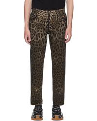 Dolce & Gabbana Black Brown Leopard Jeans