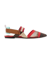 Fendi Colibr Mesh And Rubber Slingback Point Toe Flats