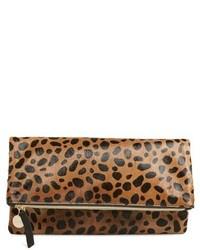 Clare v genuine calf hair leopard print foldover clutch beige medium 518036