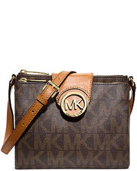 Dark Brown Print Leather Crossbody Bag