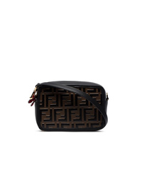 Fendi Black And Brown Ff Logo Mini Leather Camera Bag