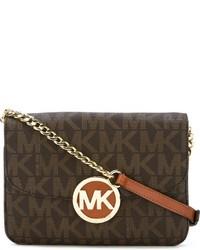 Women's Dark Brown Print Leather Crossbody Bags by MICHAEL