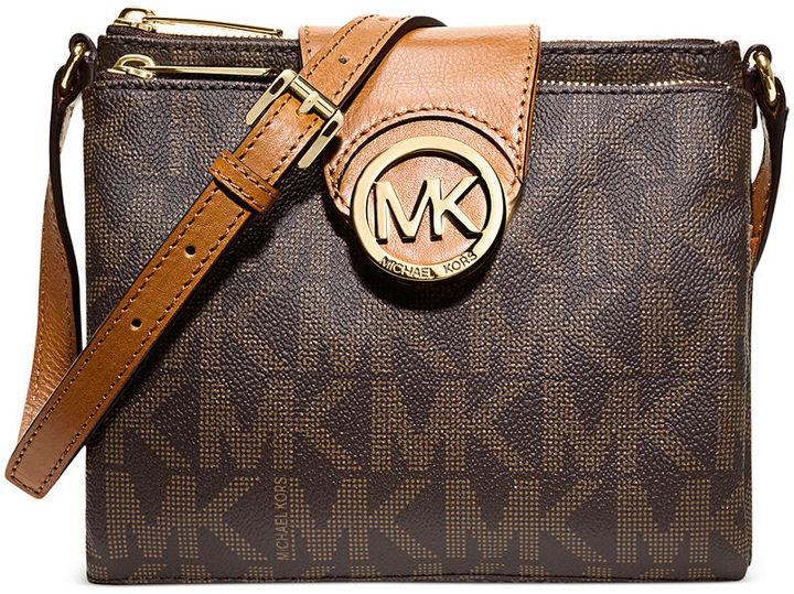 6d680b32c191e ... Dark Brown Print Leather Crossbody Bags MICHAEL Michael Kors Michl  Michl Kors Fulton Large Crossbody ...