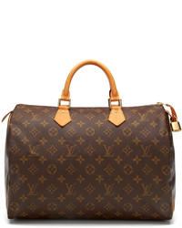 Dark Brown Print Leather Duffle Bag