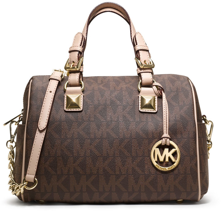 74357e991d6443 ... MICHAEL Michael Kors Michl Michl Kors Medium Grayson Logo Monogram  Satchel Brown ...