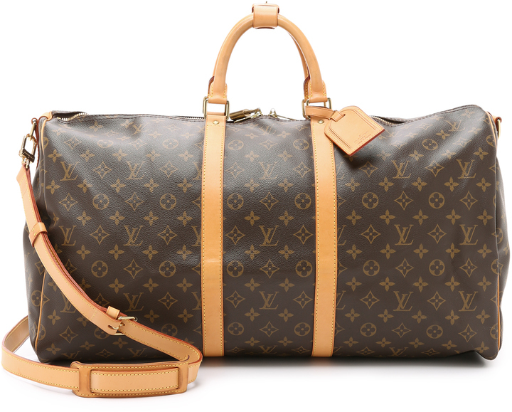 4400eeea7e3b ... Dark Brown Print Leather Duffle Bags Louis Vuitton What Goes Around  Comes Around Heritage Monogram Keepall 55 Bag ...