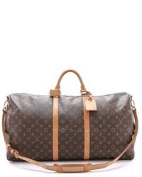 Dark Brown Print Leather Holdall