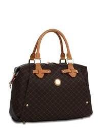 Dark Brown Print Leather Satchel Bag