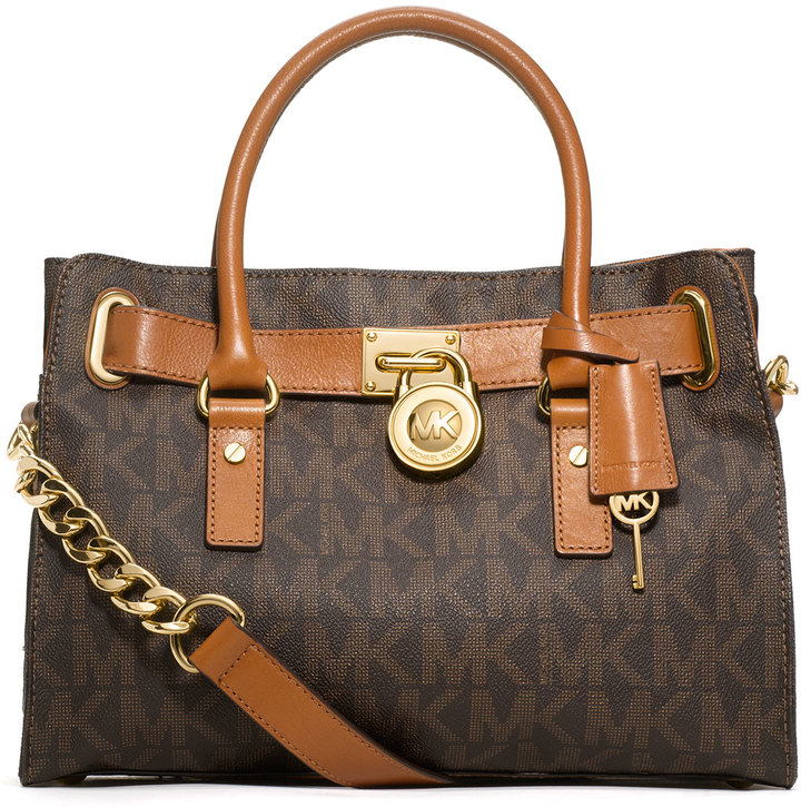 b63cb32a16 ... Dark Brown Print Leather Satchel Bags MICHAEL Michael Kors Michl Michl  Kors Hamilton Mk Logo Satchel Bag Brown ...