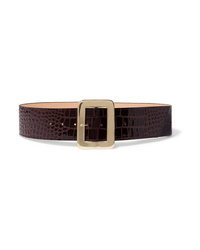 Black & Brown Croc Effect Patent Leather Waist Belt