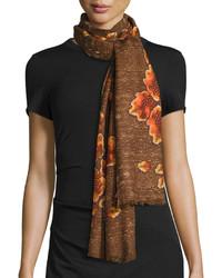 Mirrored floral print scarf brown multi medium 748048