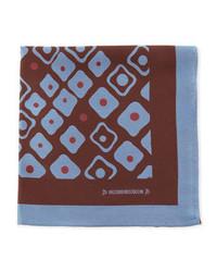 Massimo Bizzocchi Geometric Pocket Square Brownblue