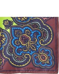 Etro Motif Print Silk Pocket Square Brown