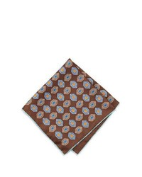 Neiman Marcus Diamond Print Silk Pocket Square Dark Brown