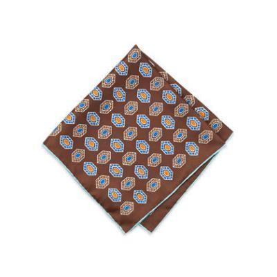Neiman Marcus Diamond Print Silk Pocket Square Dark Brown