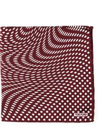 Tom Ford Stretch Dot Print Pocket Square Brown