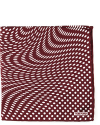 Tom Ford Stretch Dot Print Pocket Square Brown