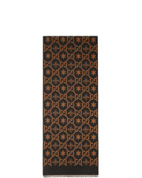 Gucci Brown And Grey Jacquard Bees And Stars Gg Scarf