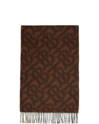 Burberry Brown Cashmere Mega Check And Monogram Scarf