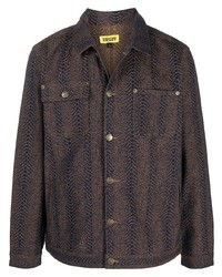 Dark Brown Print Shirt Jacket