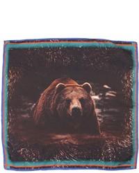 Bear printed silk satin pocket square medium 4416656