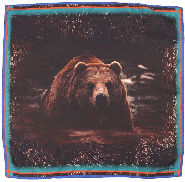 Etro Bear Printed Silk Satin Pocket Square