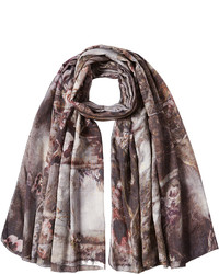 Printed scarf with virgin wool and silk medium 782237