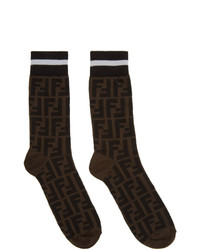 Fendi Black And Brown Forever Socks