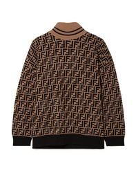 Fendi Intarsia Cashmere Turtleneck Sweater