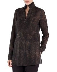 Akris Shearling Print Wool Mousseline Tunic