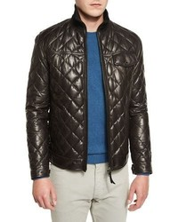 Ermenegildo Zegna Quilted Leather Down Jacket Chocolate