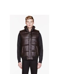 Marc by Marc Jacobs Brown Leather Quilted Vest