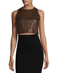 Brunello Cucinelli Soft Quilted Leather Crop Top Fox
