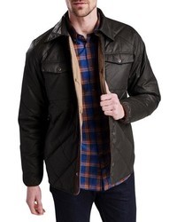 Dark Brown Quilted Shirt Jacket