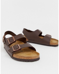 Birkenstock Milano Birko Flor Sandals In Dark Brown