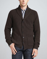 Dark Brown Shawl Cardigan