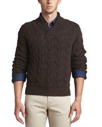 Dark Brown Shawl-Neck Sweater