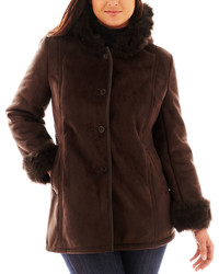 jcpenney Excelled Leather Excelled Hooded Faux Shearling Coat Plus