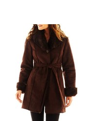 Excelled Leather Faux Shearling Belted Coat
