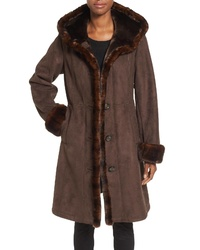 Gallery Hooded Faux Shearling Long A Line Coat
