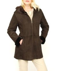 Lana Rafinattas Spanish Merino Shearling Hooded Coat