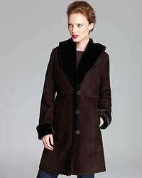 Maximilian Shearling Shawl Collar Coat