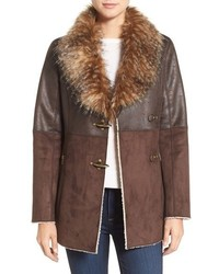 Mixed media faux shearling jacket medium 1211360